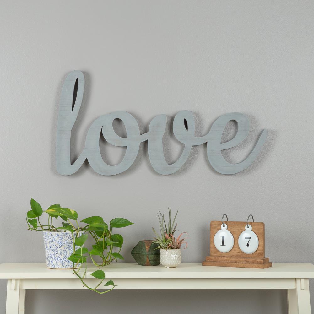 Love Grey Wood Decorative Sign