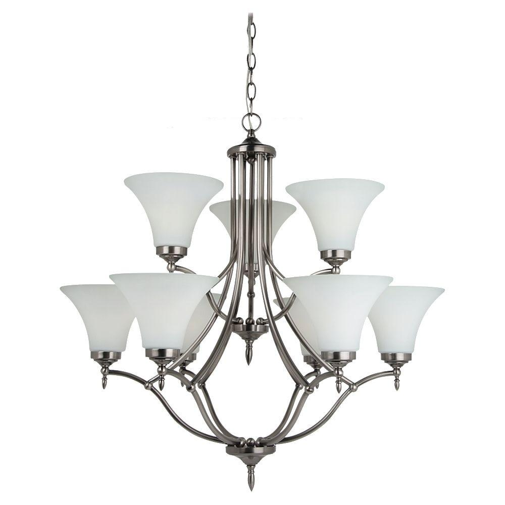 sea gull lighting montreal 9 light antique brushed nickel 87980