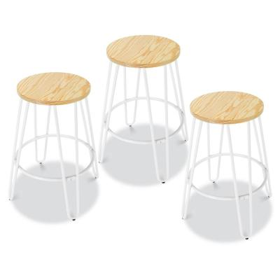 Kasey Natural and White Counter Stool (Set of 3)