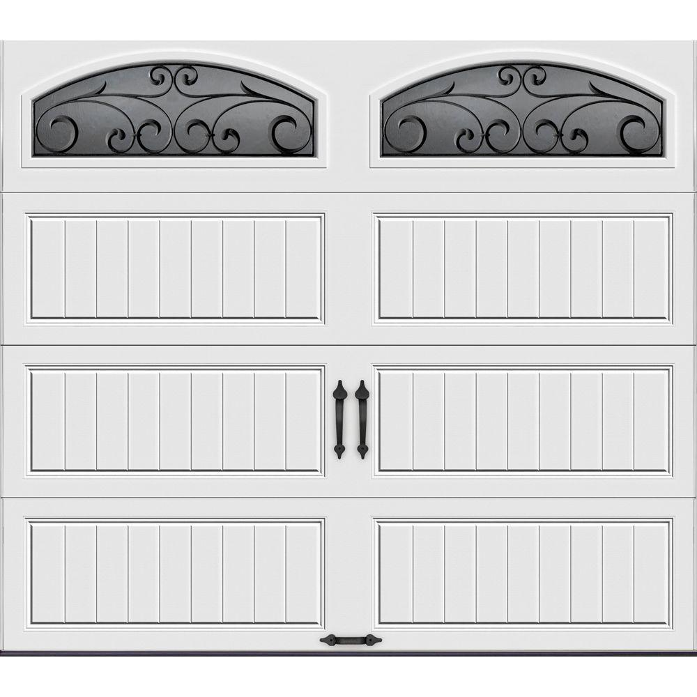 Clopay Gallery Collection 8 Ft X 7 Ft 6 5 R Value Insulated White Garage Door With Wrought Iron Window Gr1lp Sw Wia2 The Home Depot