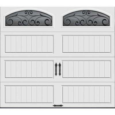 Gallery Collection 8 ft. x 7 ft. 6.5 R-Value Insulated White Garage Door with Wrought Iron Window