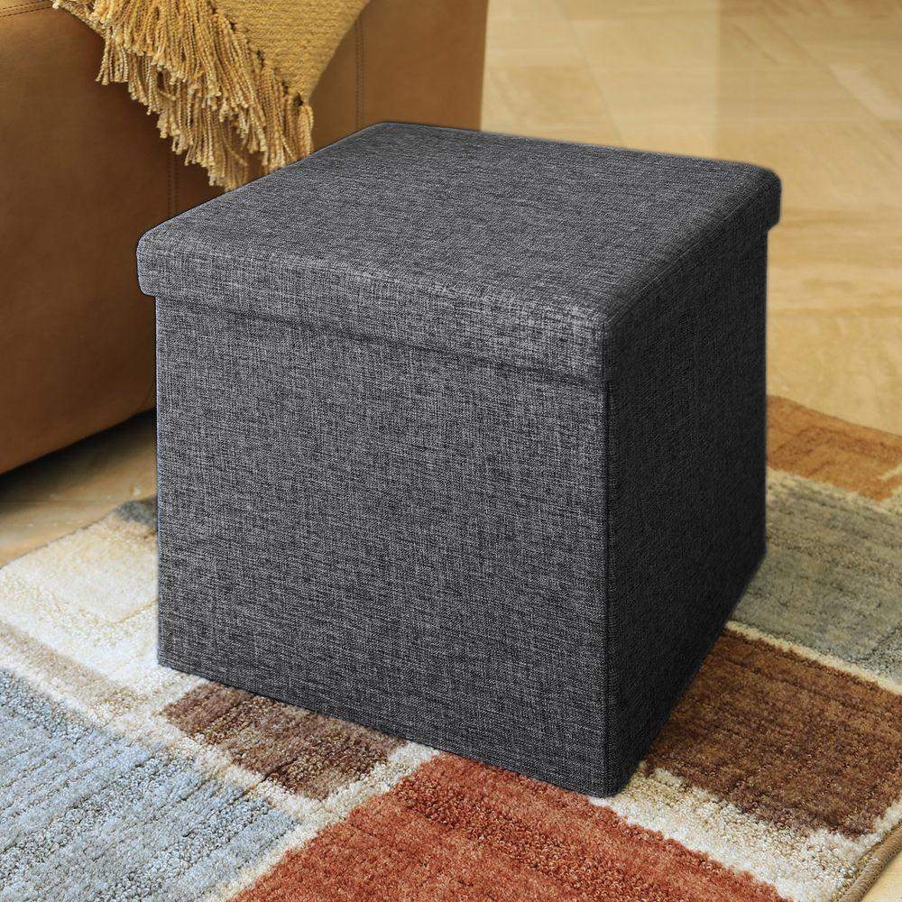 Seville classics foldable storage cube ottoman charcoal grey 2 pack web291 the home depot
