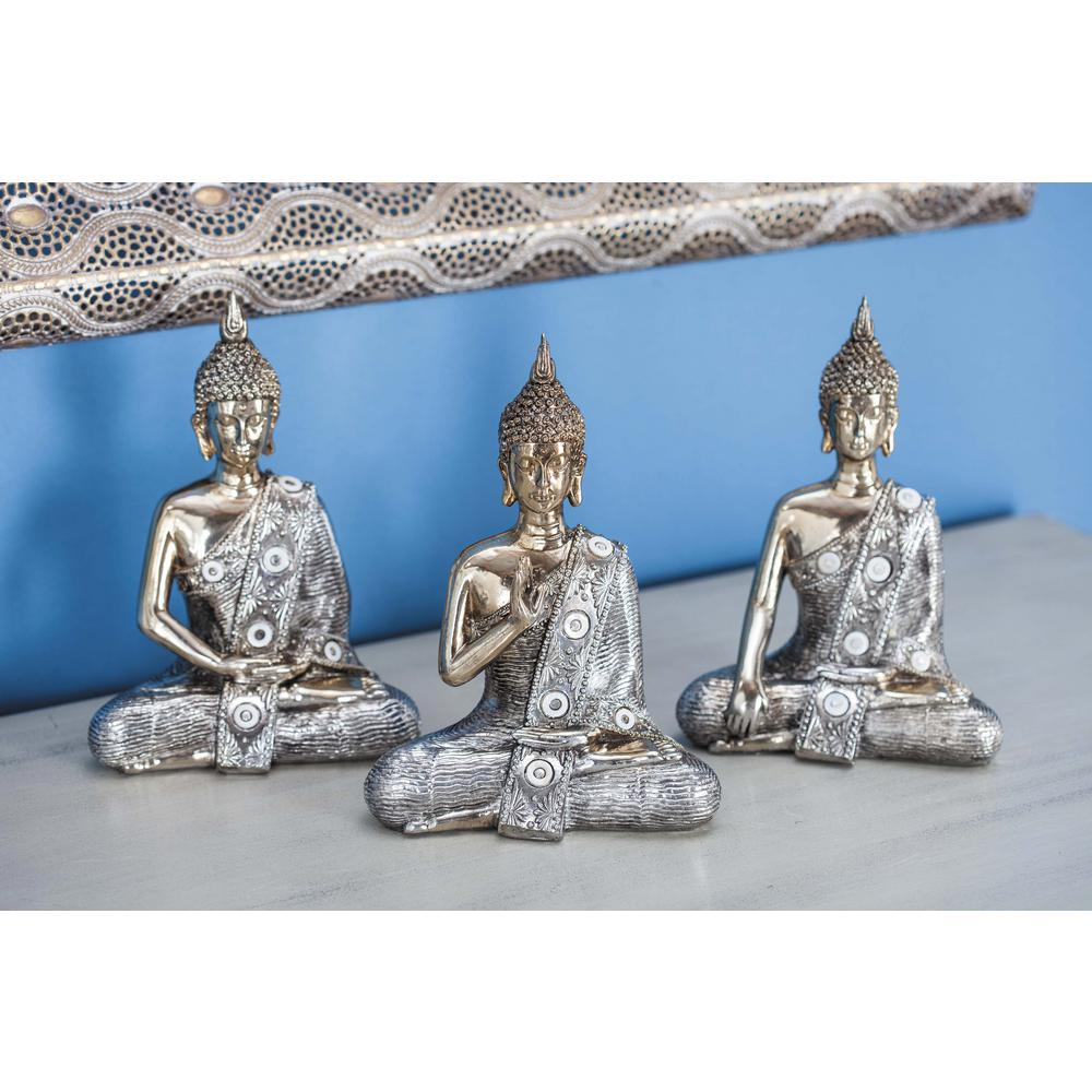 7 In Traditional Meditating Buddha Sculpture Polished Gold And Silver 3 Pack