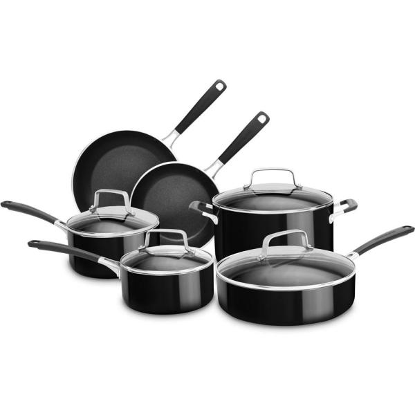 KitchenAid Aluminum Nonstick 10-Piece Onyx Black Cookware Set with Lids