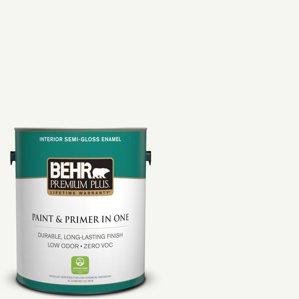 1 gal. #HDC-CT-18G Cotton Ball Zero VOC Semi-Gloss Enamel Interior Paint
