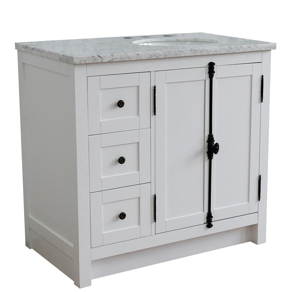 Bellaterra Home 37 in. W x 22 in. D x 36 in. H Bath Vanity in Glacier Ash with White Marble Vanity Top and Right Side Oval Sink