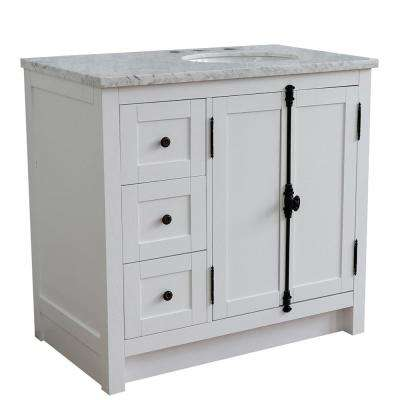37 in. W x 22 in. D x 36 in. H Bath Vanity in Glacier Ash with White Marble Vanity Top and Right Side Oval Sink