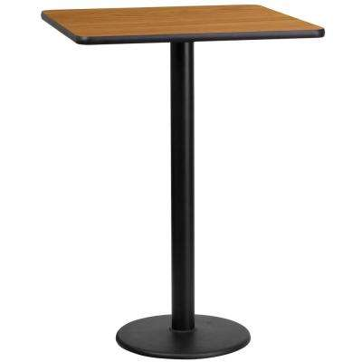 24 in. Square Natural Laminate Table Top with 18 in. Round Bar Height Table Base
