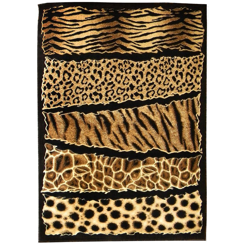 DonnieAnn Skinz Animal Skin Print Horizontal Patchwork Design Tan 5 ft. x 7 ft. Indoor Area Rug