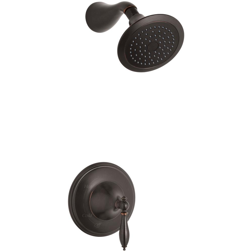 KOHLER Finial Traditional 1-Spray 6.25 in. 2.5 GPM Fixed Shower Head ...