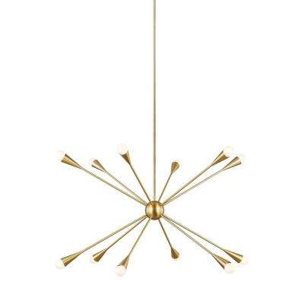 ED Ellen DeGeneres Crafted by Generation Lighting Jax 38 in. W 12-Light Burnished Brass Chandelier with Swivel Canopy