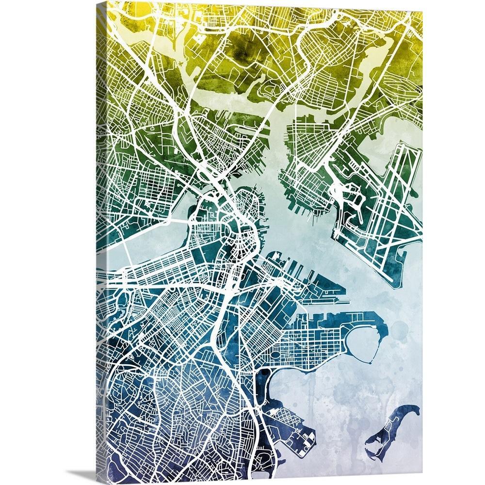 Greatbigcanvas 30 In X 40 In Boston Massachusetts Street Map By