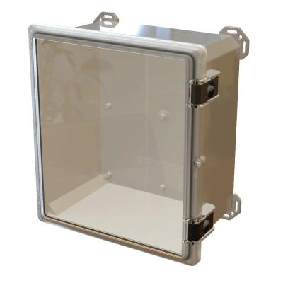 Nema 4x I632 Hinged Latch Top, 17.8 in. L x 16.3 in. W x 9.3 in. H Polycarbonate Electronic Cabinet Enclosure Clear/Gray