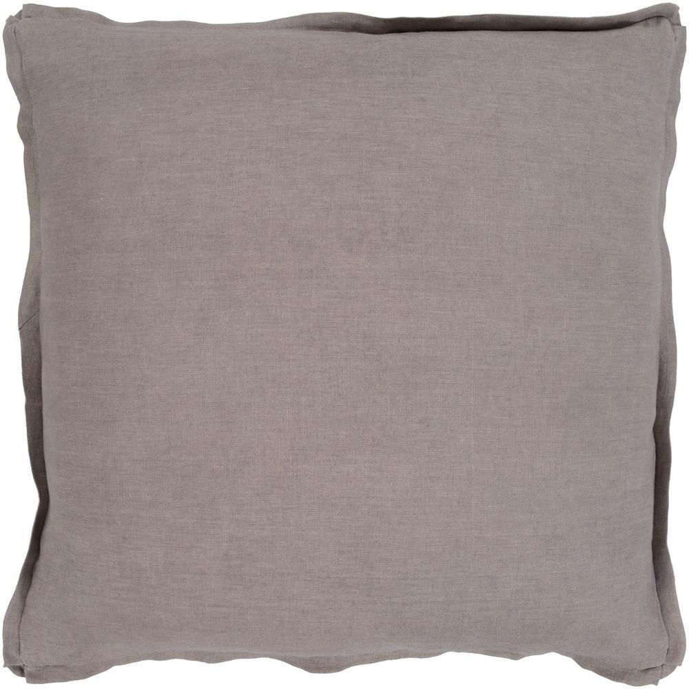 Zevgari Brown Solid Polyester 22 in. x 22 in. Throw Pillow