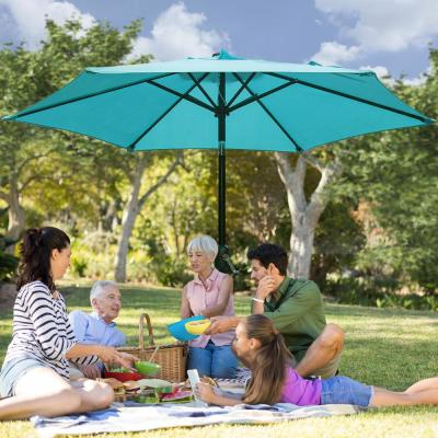 9 ft. Market Table Patio Umbrella with Push Button Tilt and Crank in Turquoise