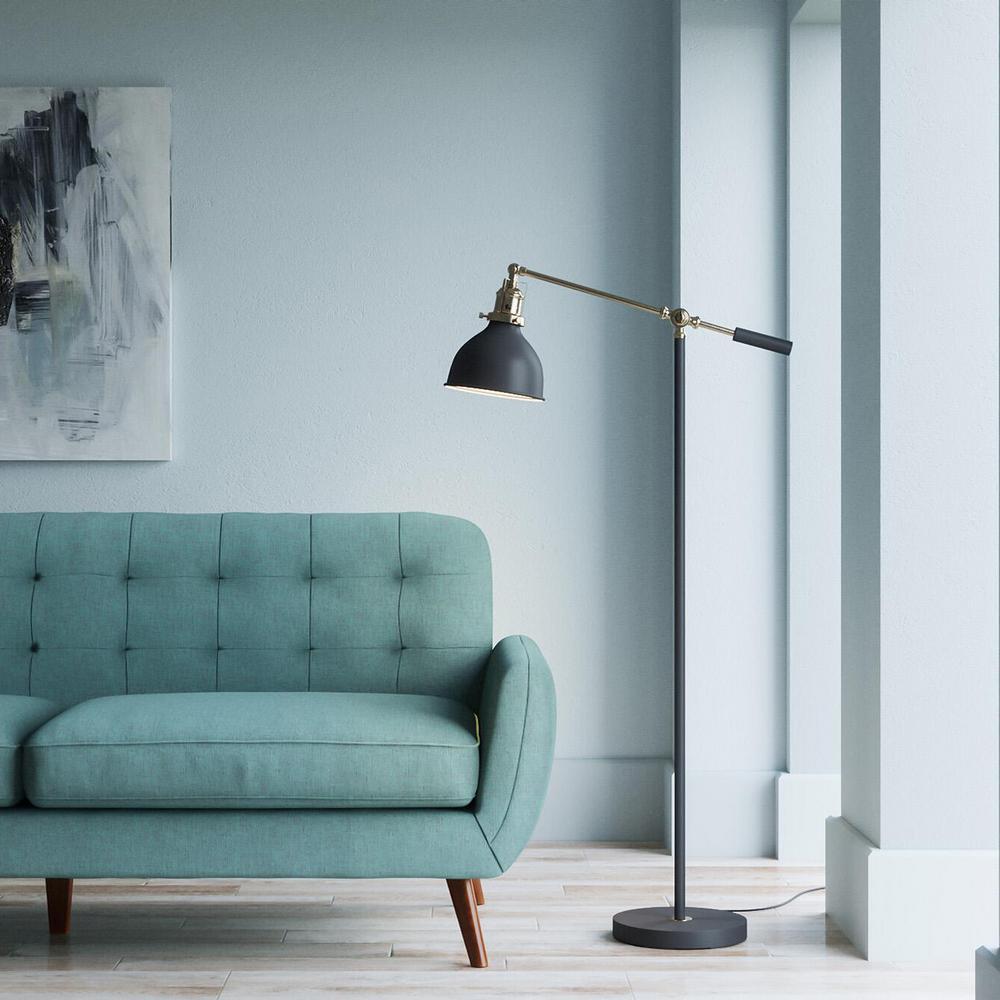 Matte Black and Antique Brass 55in. Industrial Balance Floor Lamp