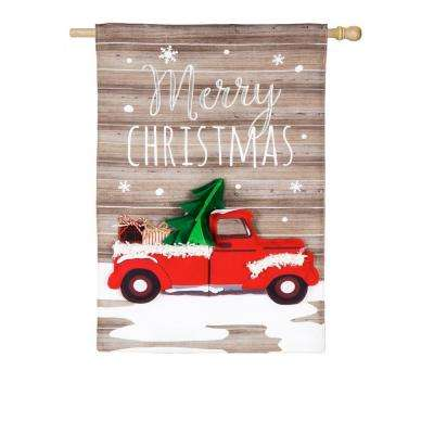 28 in. x 44 in. Vintage Christmas Truck House Linen Flag