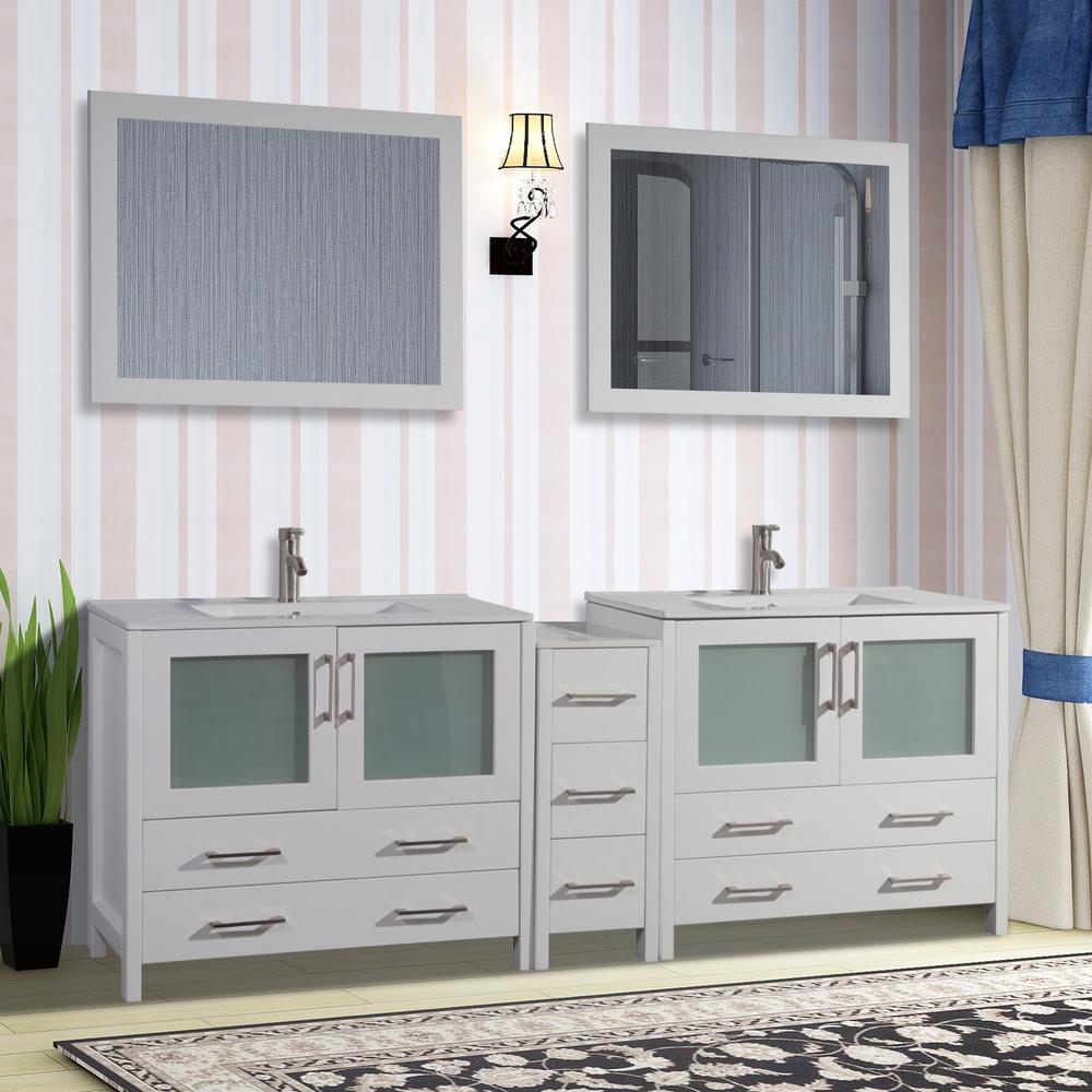 Vanity Art Brescia 84 in. W x 18 in. D x 36 in. H Bathroom Vanity in White with Double Basin Top in White Ceramic and Mirrors