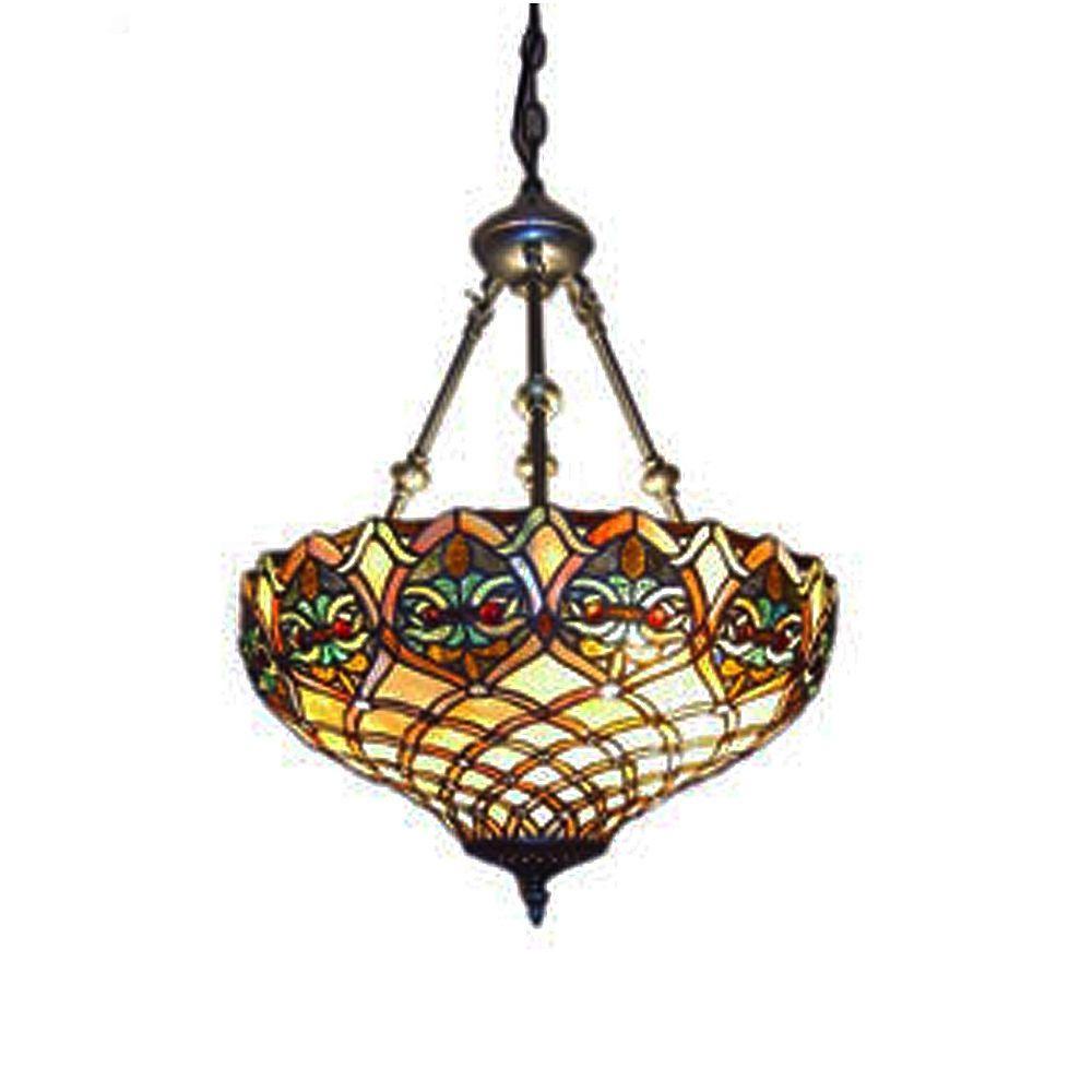Tiffany 2-Light Baroque Bronze Hanging Pendant Lamp