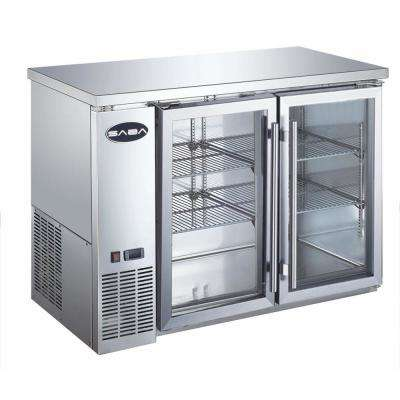 48 in. W 11.8 cu. ft. Commercial Under Back Bar Cooler Refrigerator with Glass Doors in Stainless Steel