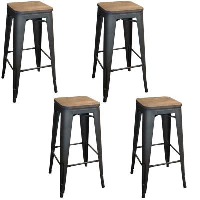 Loft Style 30 in. Stackable Gunmetal Bar Stool with Dark Elm Wood Top (Set of 4)
