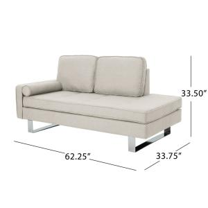Noble House Typhaine Modern Beige Fabric Chaise Loveseat ...