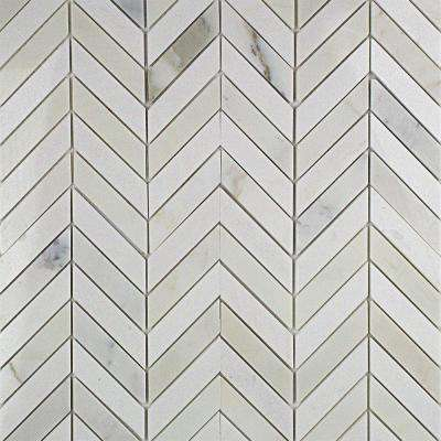Dart Calcutta and Thassos Marble Mosaic Tile - 3 in. x 6 in. Tile Sample