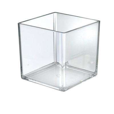 6 in. W x 6 in. D x 6 H. Crystal Styrene Square Display Cube (4-Pack)