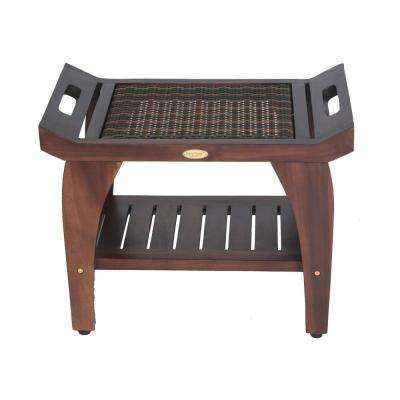 Tranquility 24 in. Teak Eastern Style Shower Bench with Viro Indoor/Outdoor Rattan Top and Shelf