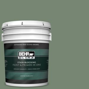 Behr Ultra 5 Gal 440f 5 Winter Hedge Semi Gloss Enamel Exterior Paint And Primer In One 585305 The Home Depot