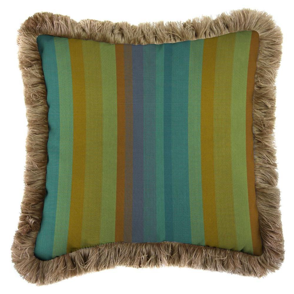 Sunbrella Astoria Lagoon Square Outdoor Throw Pillow with Heather Beige Fringe