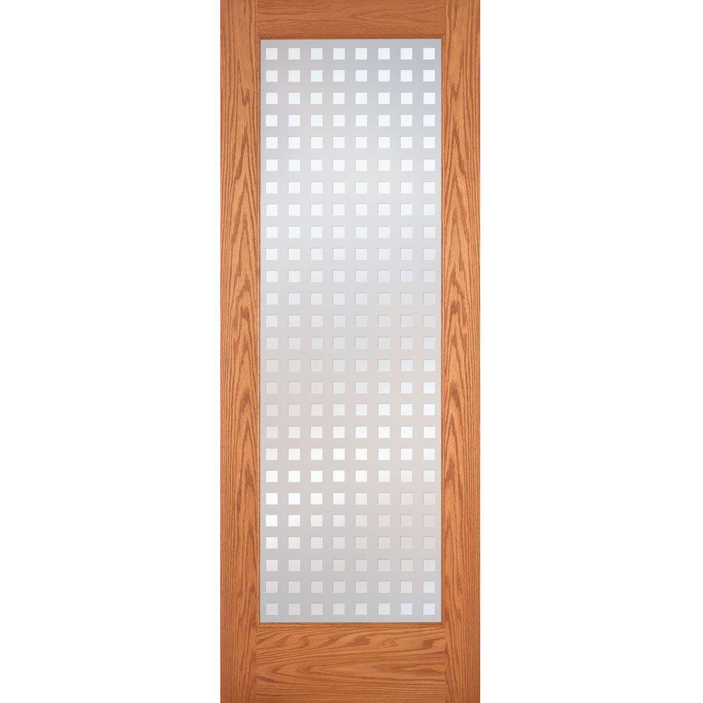 30 in. x 80 in. Multicube Woodgrain 1 Lite Unfinished Oak