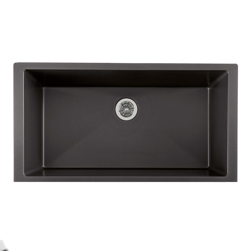 Elkay Quartz Luxe Perfect Drain Undermount Composite 36 in. Single Bowl Kitchen Sink in Charcoal
