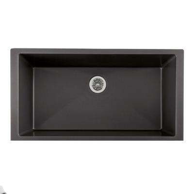 Quartz Luxe Perfect Drain Undermount Composite 36 in. Single Bowl Kitchen Sink in Charcoal