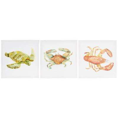 12 in. x 12 in. in. Watercolor Sea Creatures in. 3 Pack Canvas Wall Art