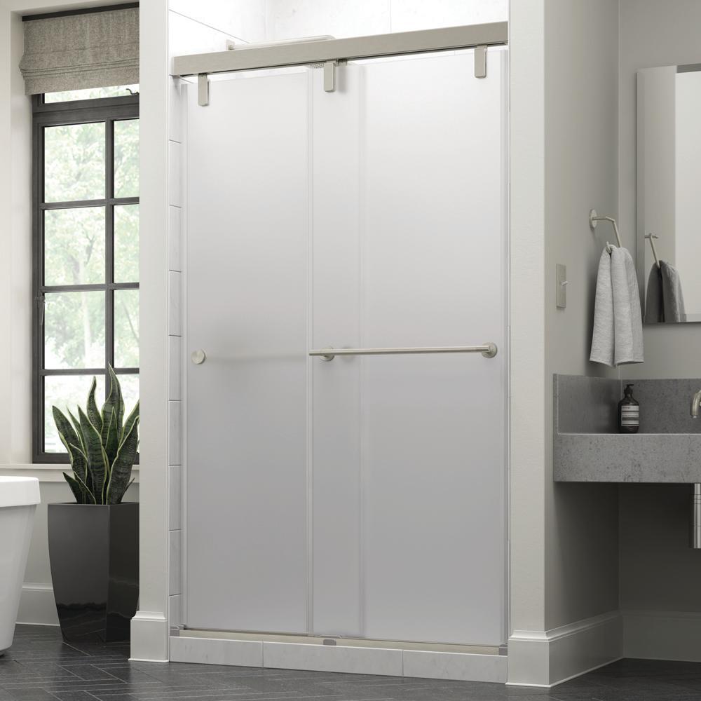 Crestfield 48 in. x 71-1/2 in. Mod Semi-Frameless Sliding Shower Door in Nickel and 3/8 in. (10mm) Niebla Glass