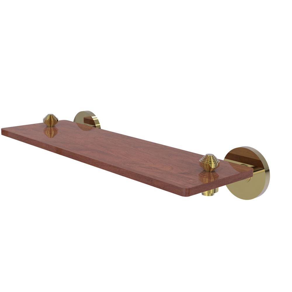 Allied Brass South Beach Collection 16 in. Solid IPE Ironwood Shelf in Unlacquered Brass