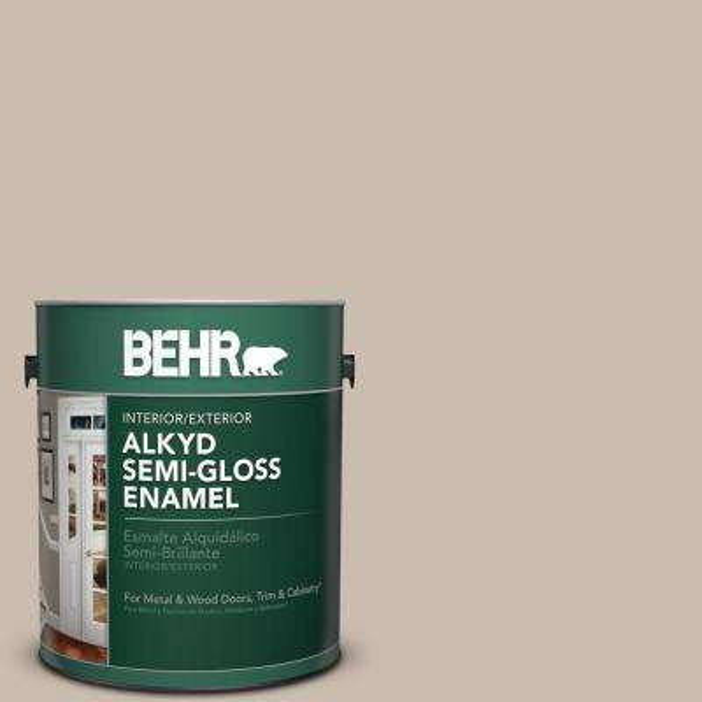 1 gal. #PPU5-13 Creamy Mushroom Semi-Gloss Enamel Alkyd Interior/Exterior Paint