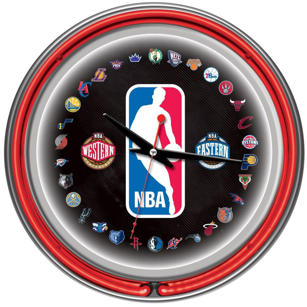 14 in. NBA Logo 30 Team Chrome Double Ring Neon Wall
