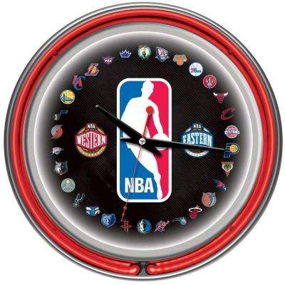14 in. NBA Logo 30 Team Chrome Double Ring Neon Wall Clock
