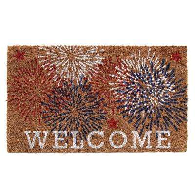 Fireworks and Stars 18 in. x 30 in. PVC Backed Natural Printed Coir Door Mat