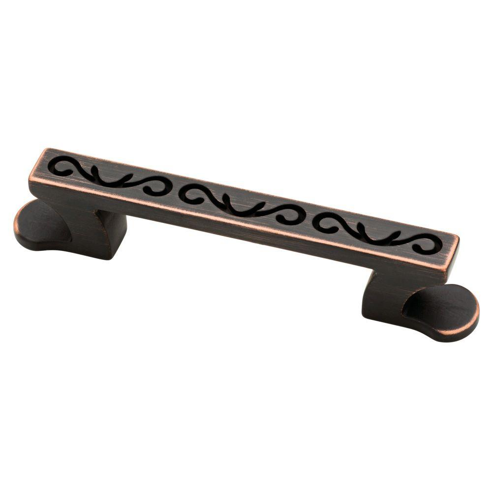 Angevine 3 in. (76mm) Bronze with Copper Highlights Drawer Pull