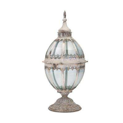 Danitra 9.5 in. Distressed White Metal and Glass Lantern
