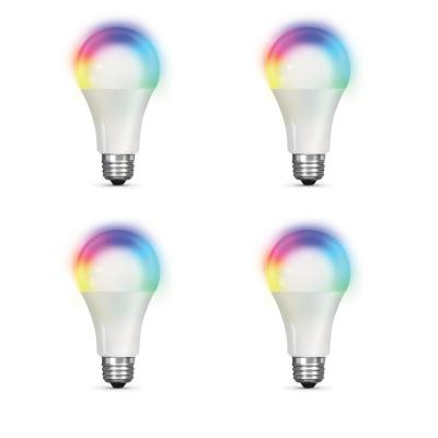 100-Watt Equivalent Daylight A19 Dimmable Color Changing Wi-Fi LED Smart Light Bulb (4-Pack)