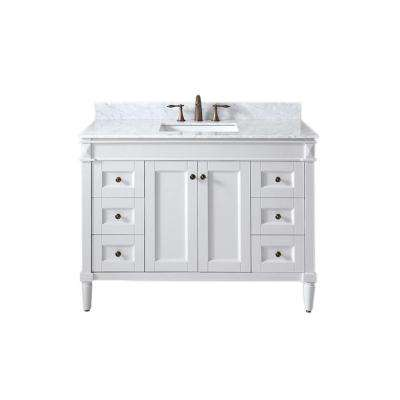 Tiffany 49 in. W Bath Vanity in White with Marble Vanity Top in White with Square Basin
