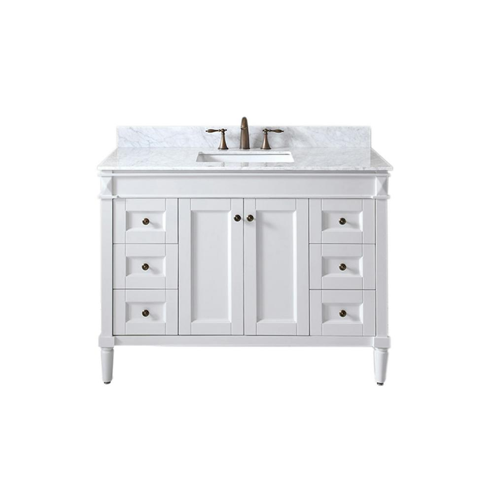 Virtu USA Tiffany 48 in. W x 22 in. D Single Vanity in White with Marble Vanity Top in Italian Carrara White with White Basin