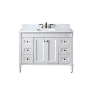 Virtu USA Tiffany 48 inch W x 22 inch D Single Vanity in White with Marble Vanity Top in Italian Carrara White with... by Virtu USA