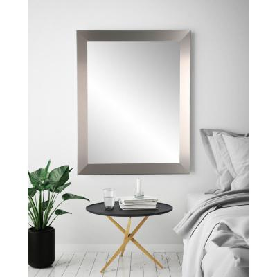 Large Rectangle Silver Hooks Modern Mirror (55 in. H x 32 in. W)