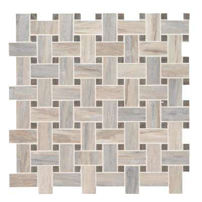 Angora Basketweave 12 in. x 12 in. x 10 mm Polished Marble Mesh-Mounted Mosaic Tile (10 sq. ft./case)