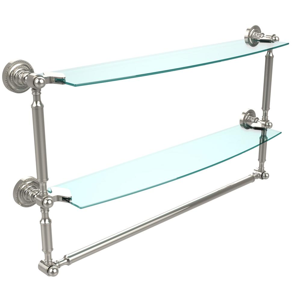 Delta Cassidy 24 In Glass Bathroom Shelf With Towel Bar
